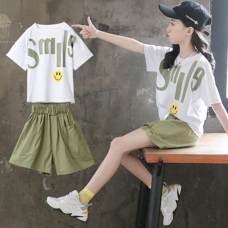 女童夏装套装短裤2021新款儿童装洋气网红夏季中大童运动12岁女孩