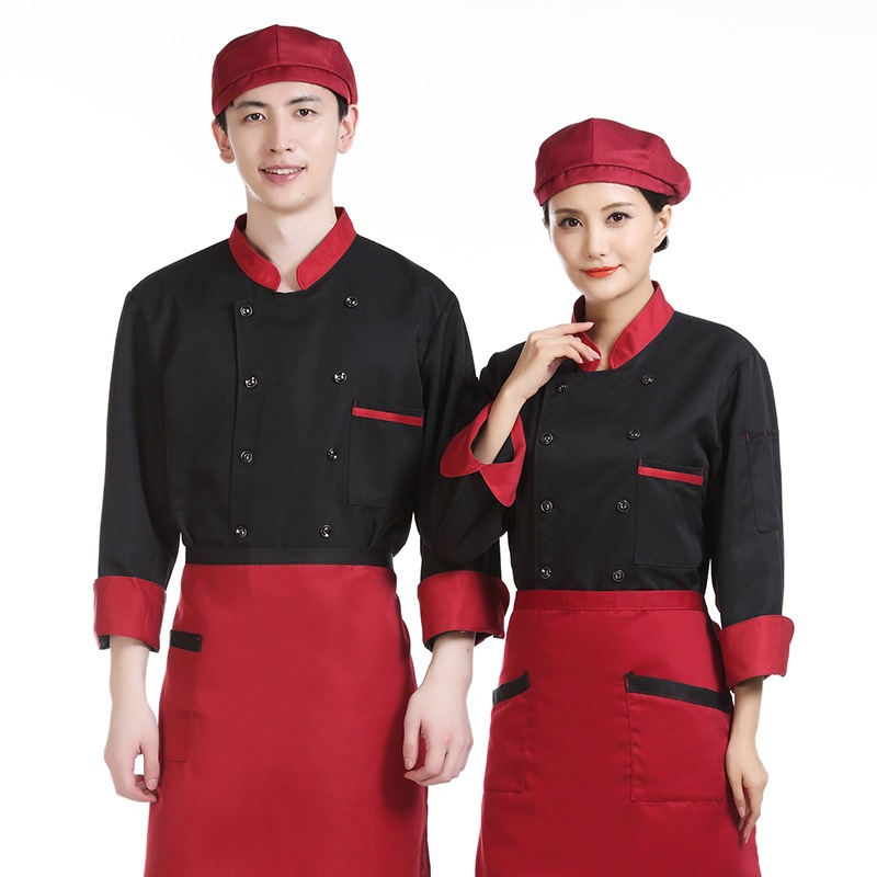 Canteen chefs clothes long sleeve autumn and winter clothes cake shop working clothes barbecue masters clothes bread bakers uniform autumn and winter