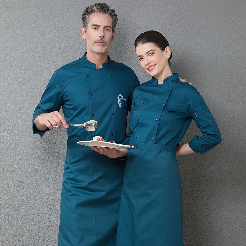 食堂主厨师工作服长袖面包师制服烘焙师秋冬工装烤肉师装蛋糕服装