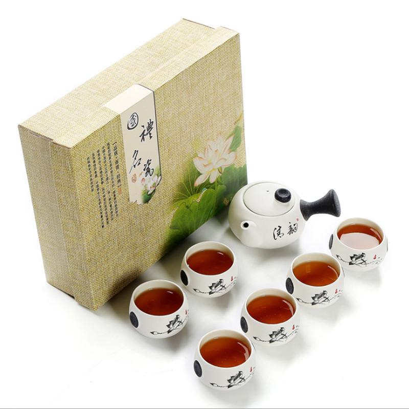 雪花釉茶具套装 7头陶瓷功夫茶具侧把壶可定制LOGO广告礼品盒装