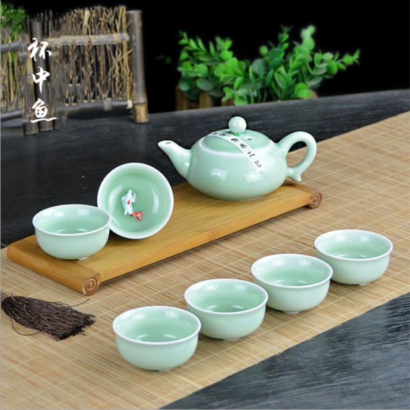 7件中式茶具家用办公陶瓷杯中鱼功夫茶套装可定制LOGO广告礼品盒