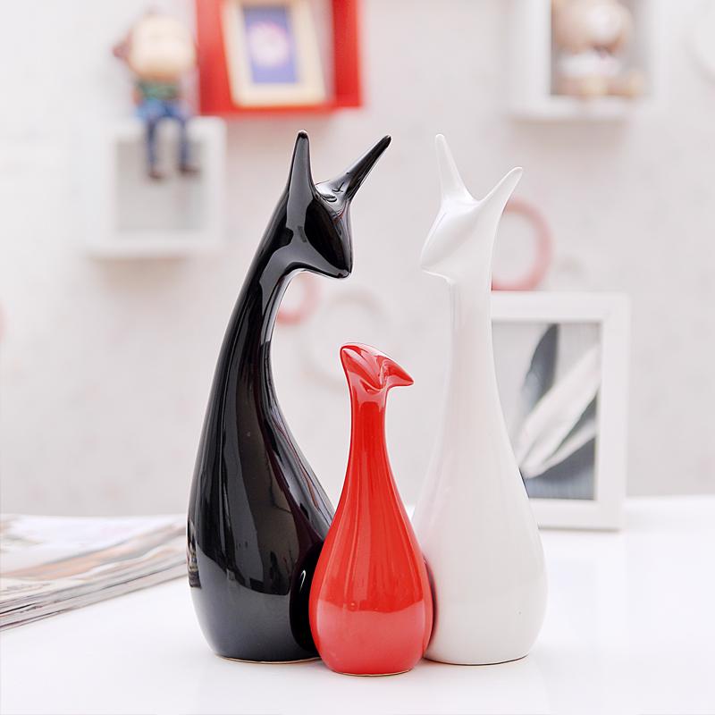 热卖包邮家居饰品创意摆件客厅装饰陶瓷工艺品结婚礼物三口之家鹿
