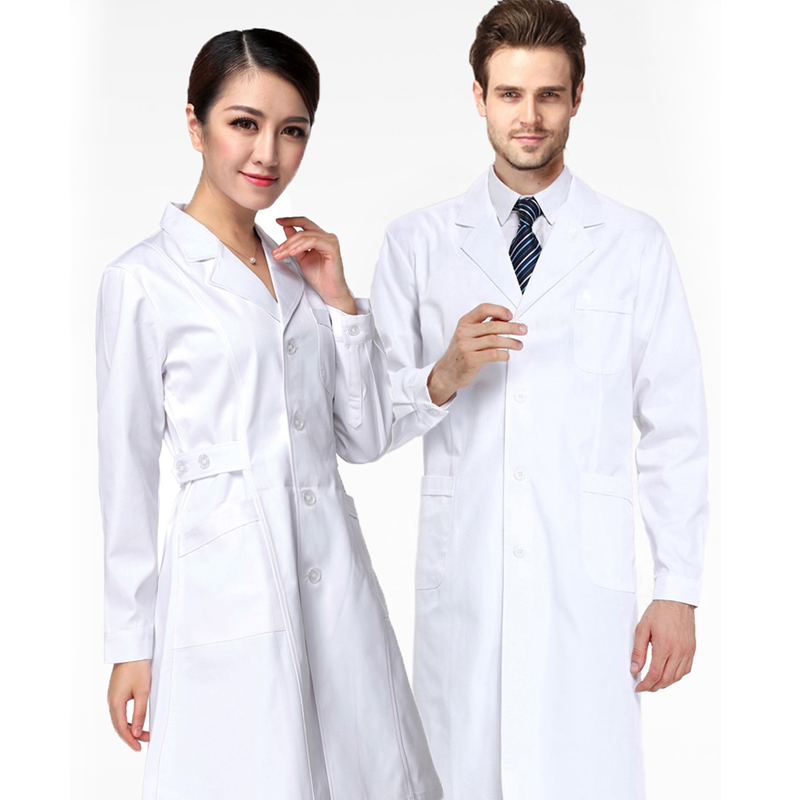 Nightingale white coat Long Sleeve female doctors clothes waist closing nurses clothes winter clothes beauty tattoo drugstore work clothes