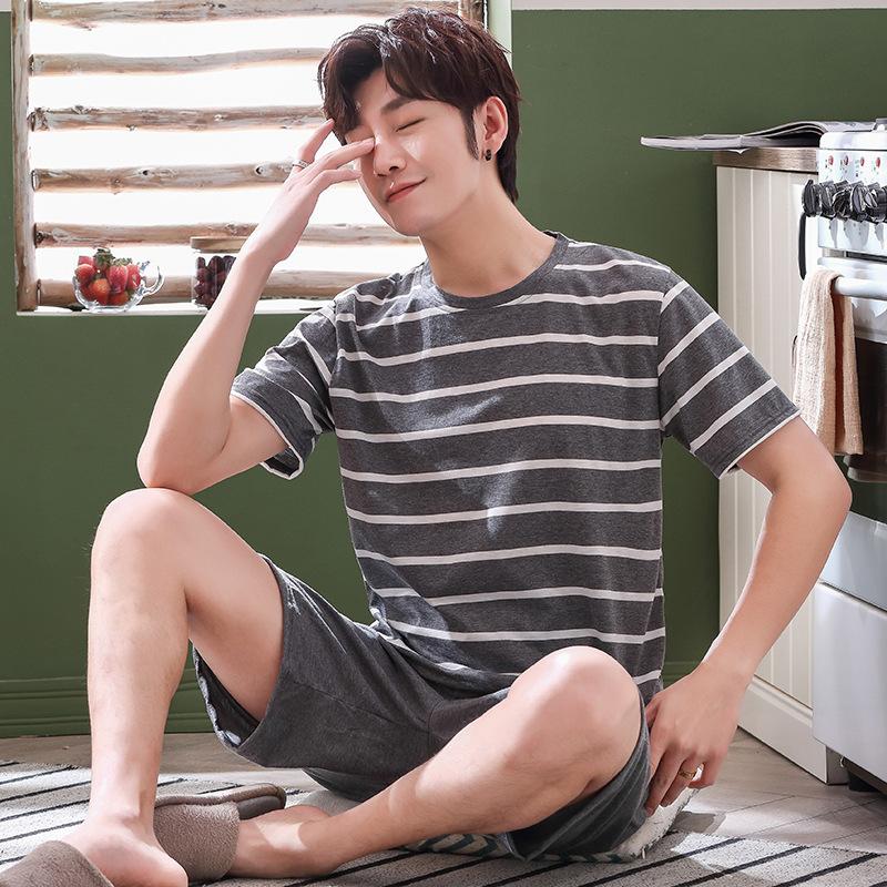 新款夏季睡衣男夏棉质短袖短裤春夏青少年男士夏天薄款春秋套装