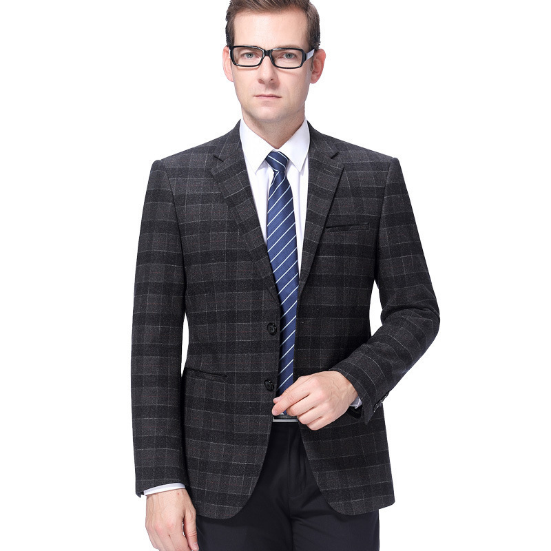 Autumn and winter mens suit fashion leisure middle aged wool single suit Plaid fashionable mens coat one grain double breasted
