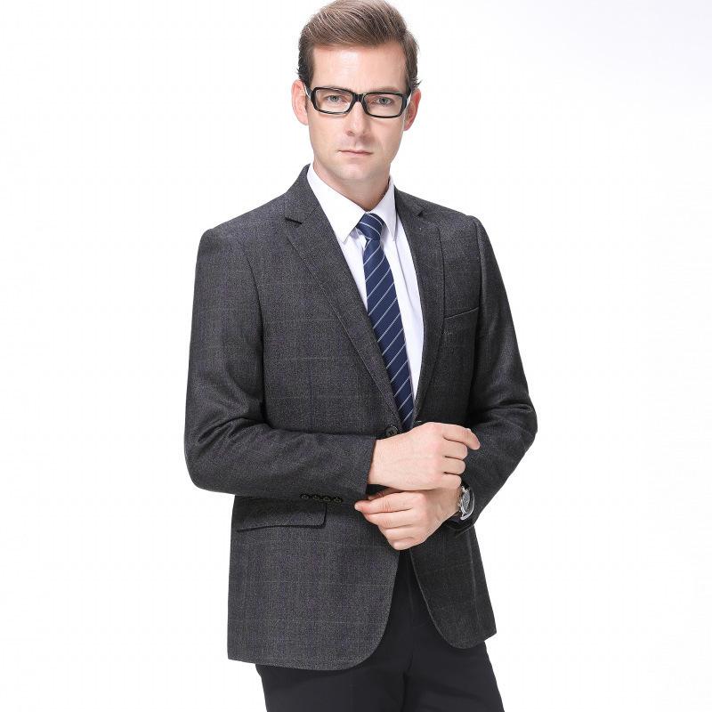 秋冬男士西服时尚休闲中年羊毛单西装格子外套一件代发青春流行