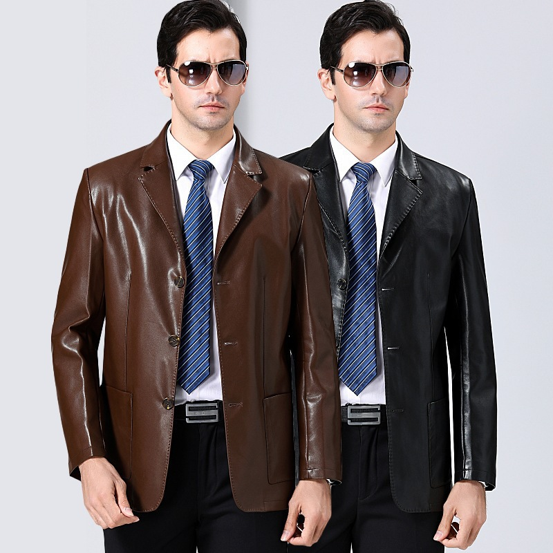 Mens leather clothing autumn and winter middle-aged business leisure suit collar leather jacket fashionable youth