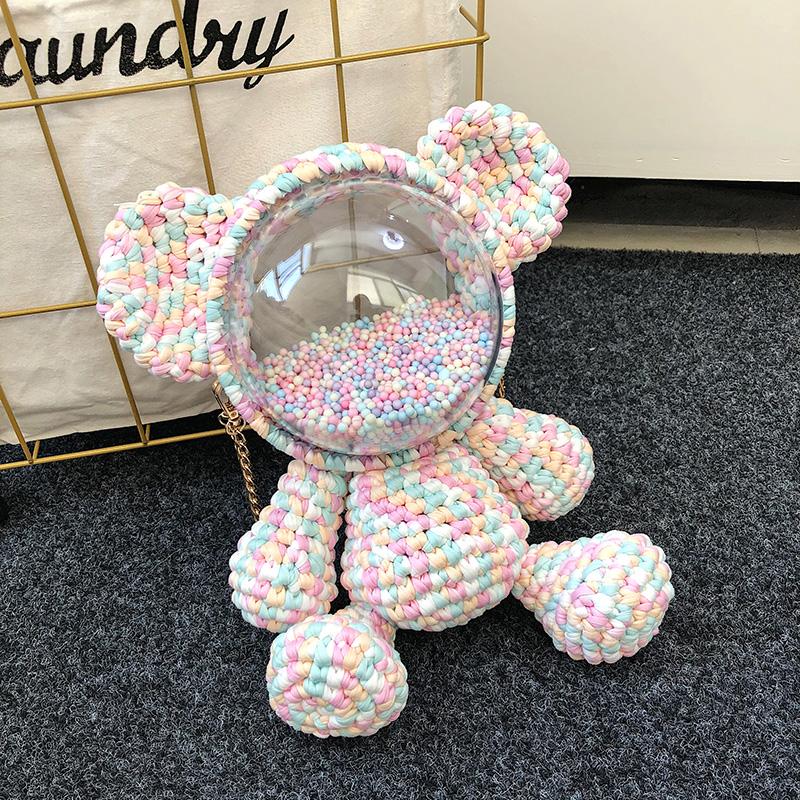 小熊暴力熊手工编织包毛线diy材料包自制双肩透明太空罩背包成品