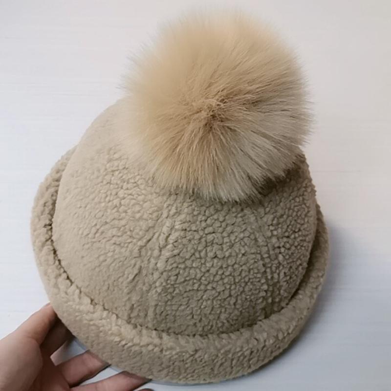 Hairy ball Beret female autumn and winter Japanese versatile Korean fashion landlord hat British lovely lamb hairy watermelon hat children