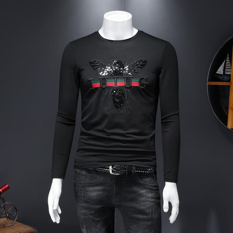 2021新款刺绣圆领长袖t恤男修身男士打底衫 D320-28297-P85黑色