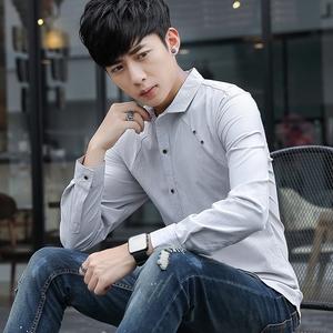 529# 秋季日系潮流长袖纯色衬衫男青年