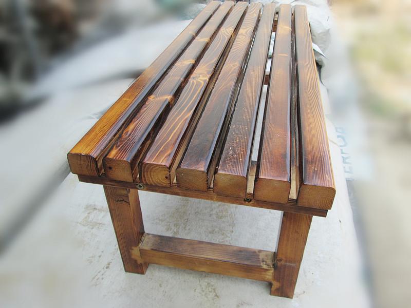 包邮实木沙发凳公园户外碳化条凳