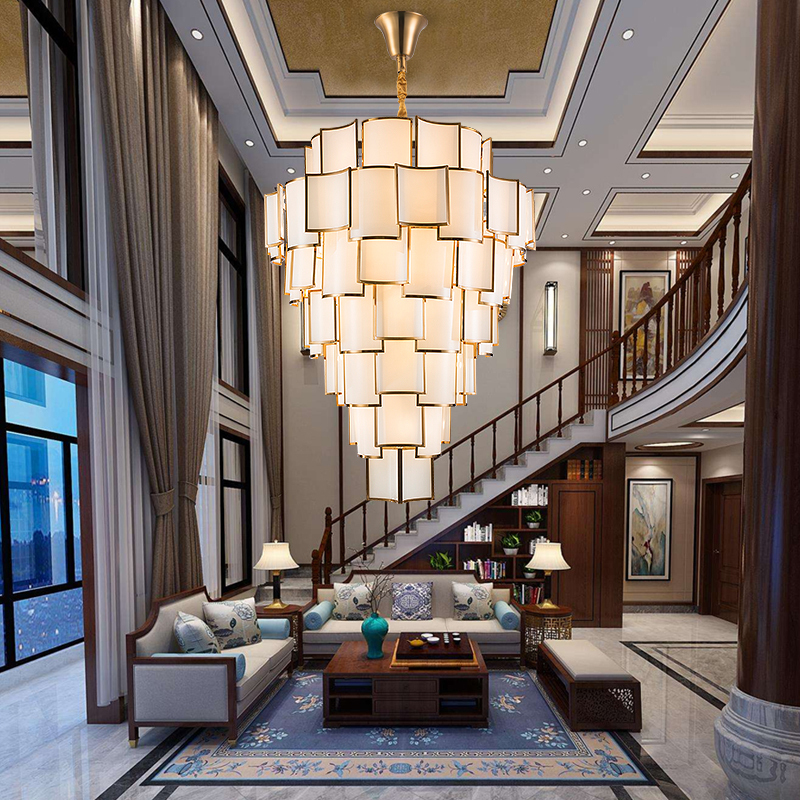 Large chandelier in duplex building new Chinese style living room lamp modern and simple building mid floor double storey villa hollow staircase long Chandelier