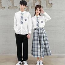 韩版学院风学生格裙班服初高中大合唱毕业季运动会校服演出服套装