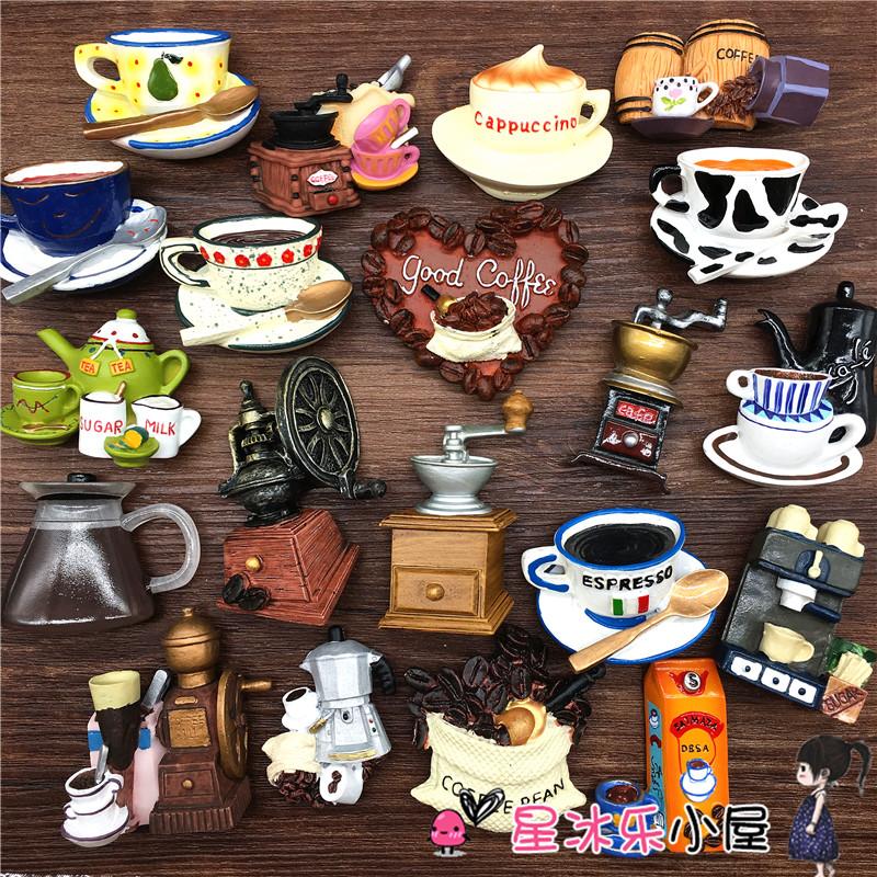 咖啡杯咖啡壶咖啡豆咖啡机冰箱磁姓贴出口欧洲咖啡系列包邮48满
