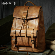 HANMIIS New Head Layer Cowhide Large Capacity Shoulder Bag All-leather Men's Backpack