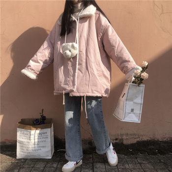 少女两面穿工装2020年韩版宽松棉服