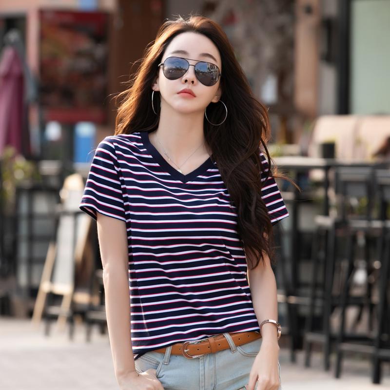 彩虹条纹t恤女短袖宽松2020年夏新款女汗衫丅V领上衣纯棉半袖t桖