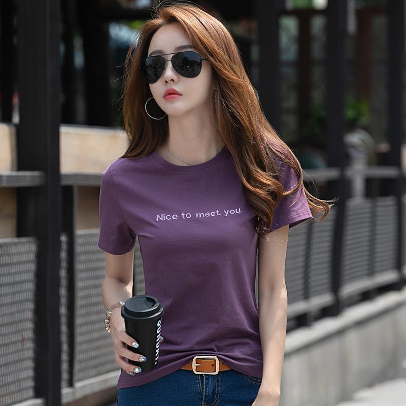 短袖t恤女纯棉女装2021年新款夏季女士紫色上衣修身洋气半袖t桖夏