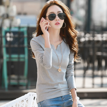 New Spring Garment T-shirt with V-collar, thin cotton T-shirt, long sleeve, large size blouse and T-shirt