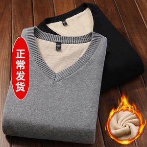 冬季男士背心加绒加厚纯棉V领无袖内搭体恤衫保暖百搭男装毛线衣