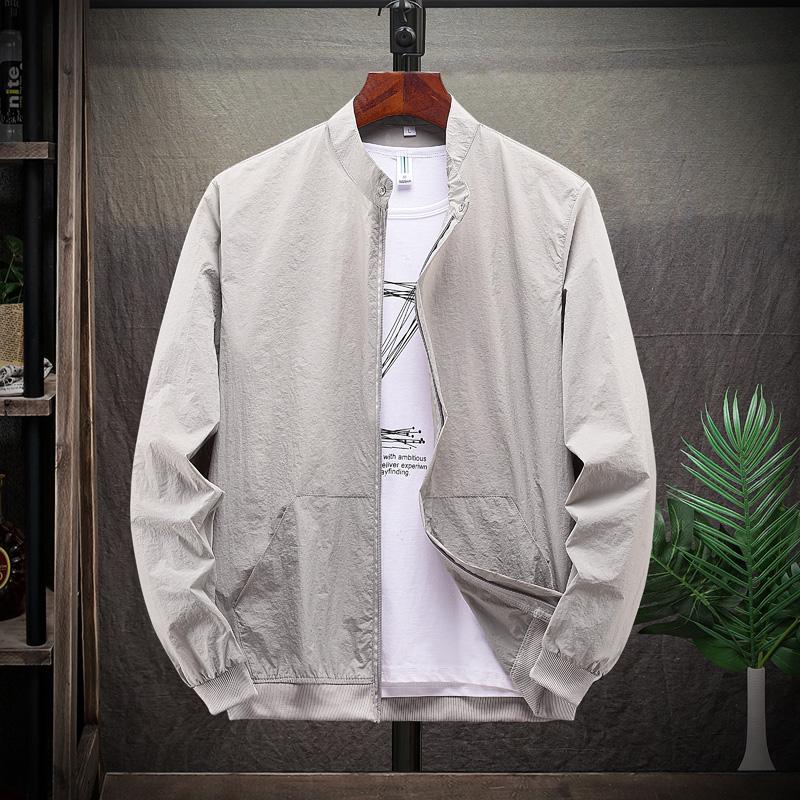 薄款夏季男士防晒衣冰丝立领韩版修身纯色防晒服潮流百搭户外外套