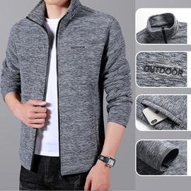 秋冬季新款男士卫衣韩版修身潮流纯色青年夹克开衫摇粒绒时尚外套