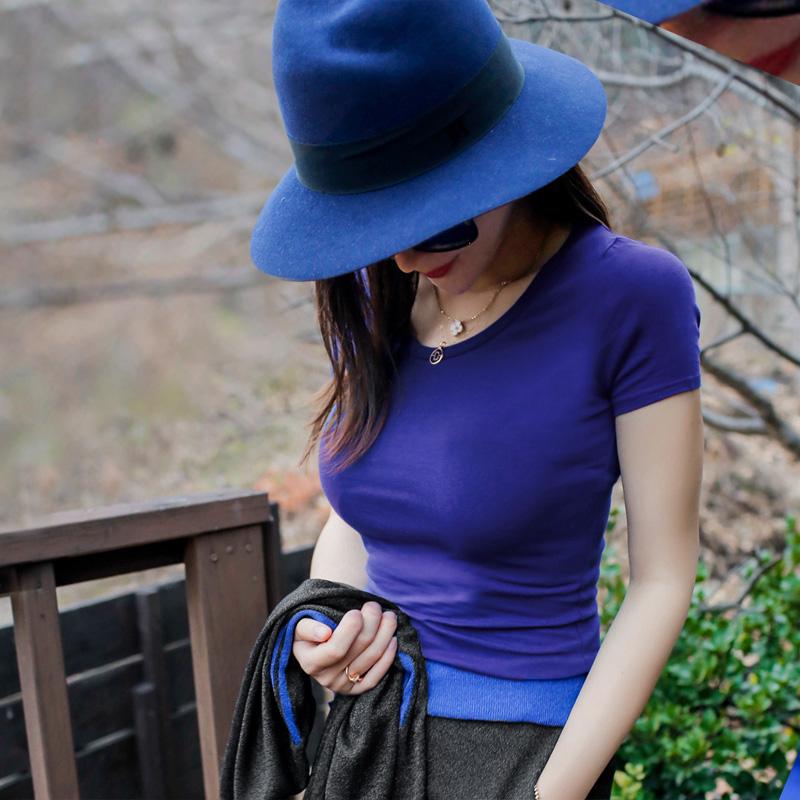 夏季针织紧身短袖纯棉T恤女圆领纯色打底衫棉半袖女T恤牛油果绿