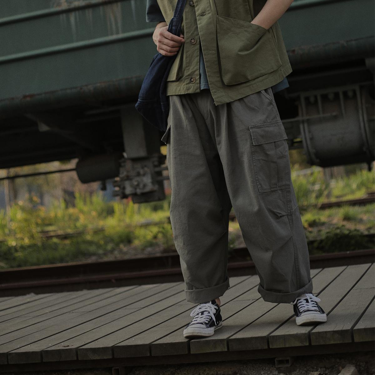 危机青年超宽松大口袋工装阔腿裤男日系直筒坠感学生复古休闲长裤不包邮