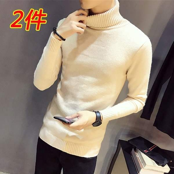 Sweater fashion mens round neck autumn winter solid color Pullover mens sweater middle-aged casual sweater thickened warmth