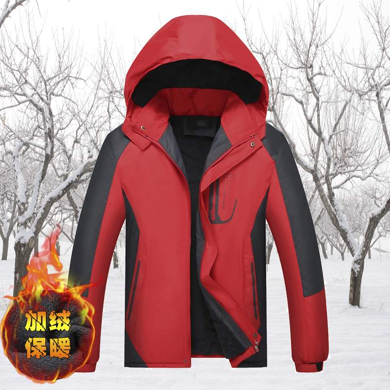 2021 autumn winter Plush thickened coat large mens waterproof breathable outdoor stormsuit mens mountaineering coat