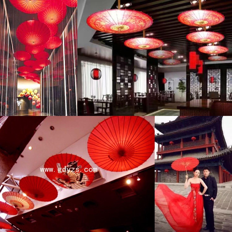 红色油纸伞中式古典风格饭店茶楼装饰吊顶传统喜庆结婚新娘防雨伞