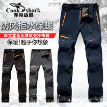 冲锋裤男女冬季户外加绒加厚宽松直筒滑雪裤防水保暖骑行钓鱼裤