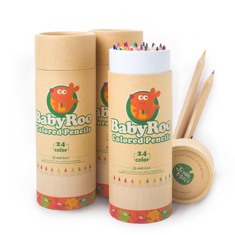 美樂joanmiro 兒童彩鉛寶寶畫畫彩色鉛筆塗鴉塗色筆彩鉛罐裝24色
