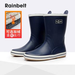 防滑套鞋 男士 雨靴防水鞋 橡胶鞋 雨鞋 男式 中筒时尚 保暖加绒 钓鱼冬季