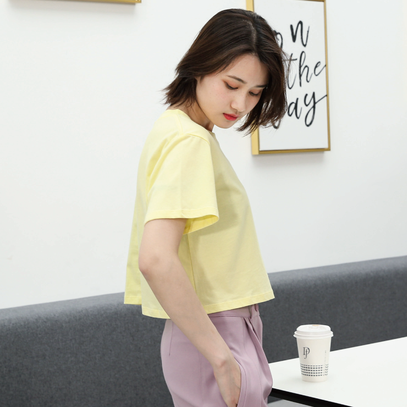 Europe and America high waist exposed navel short tiktok T Korean version of the trend of voice, red small children cover meat, all cotton short sleeved female giant slim