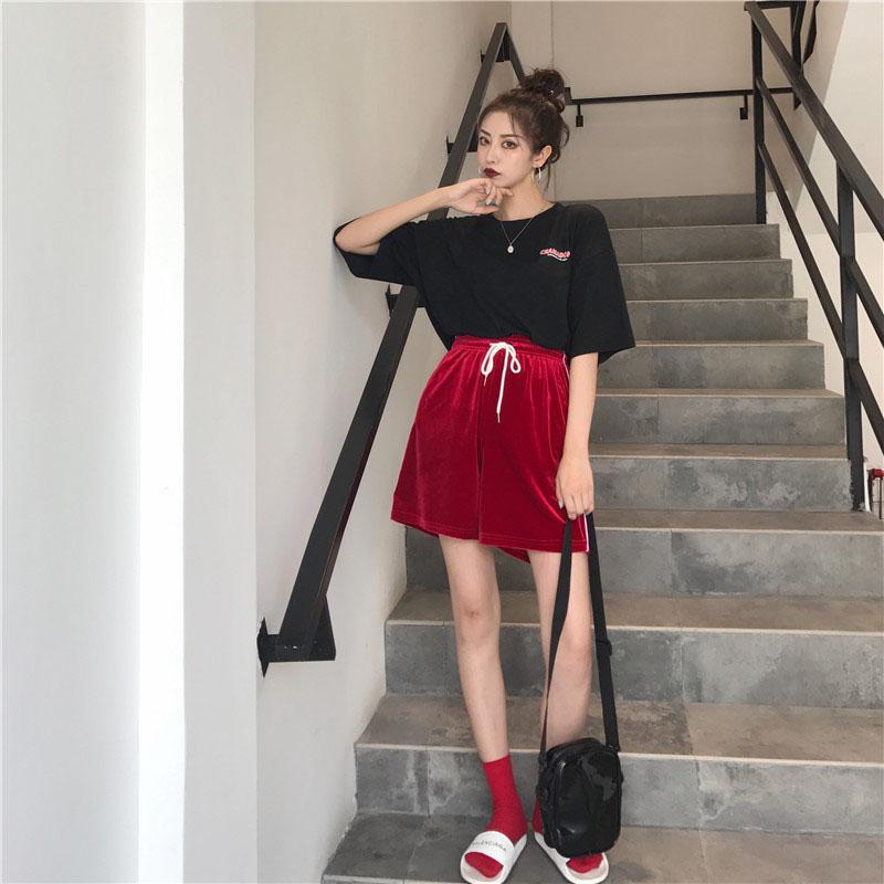 港味复古两件套女2018夏季新款字母印花短袖T恤+丝绒阔腿短裤套装