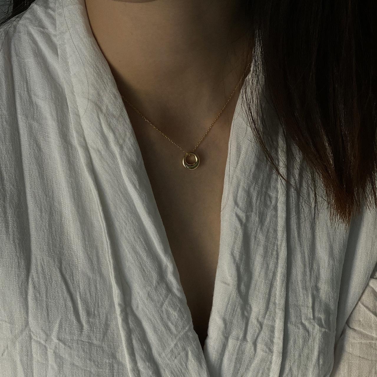 MICY螺旋圆圈项链金色饰品欧美925纯银网红INS流行项链短款锁骨链