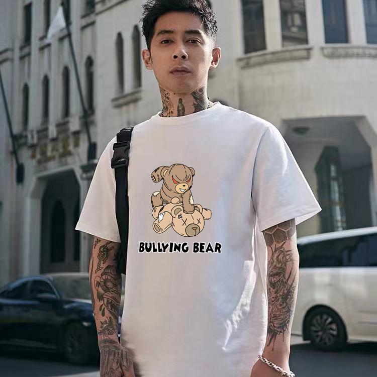 Short sleeve t-shirt mens 2021 summer new trend white base half sleeve T-shirt loose cotton top