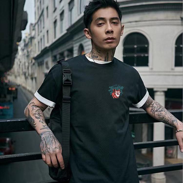 Summer short sleeve t-shirt mens Korean fashion printing half sleeve loose round neck T-shirt leisure fashion brand cotton clothes