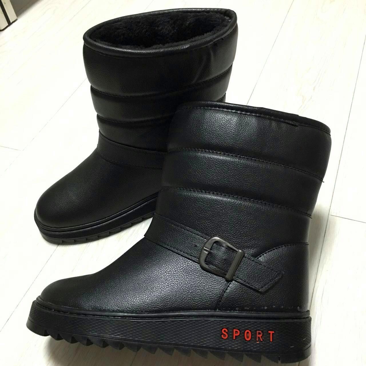 Мужчины плюс флис водонепроницаемый зимой снега сапоги мужские сапоги случайные теплой пу кожаный трубки платформа высокой мужская обувь