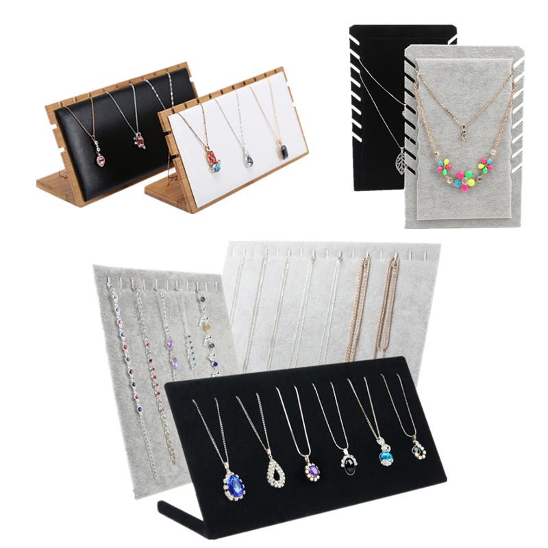 绒布L型项链吊坠手链耳钉展示架陈列道具首饰项链木质饰品展示架