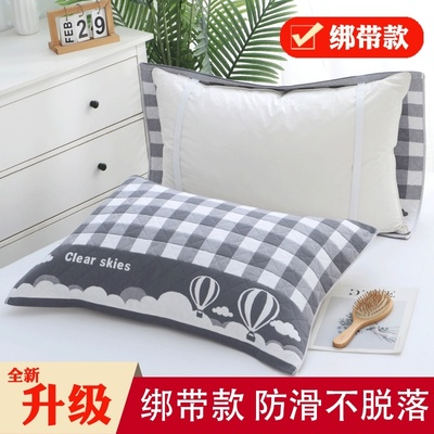 Pillow towel cotton one pair of non-slip cotton gauze with extra bandage pillow towel adult fixed non-shedding cover towel