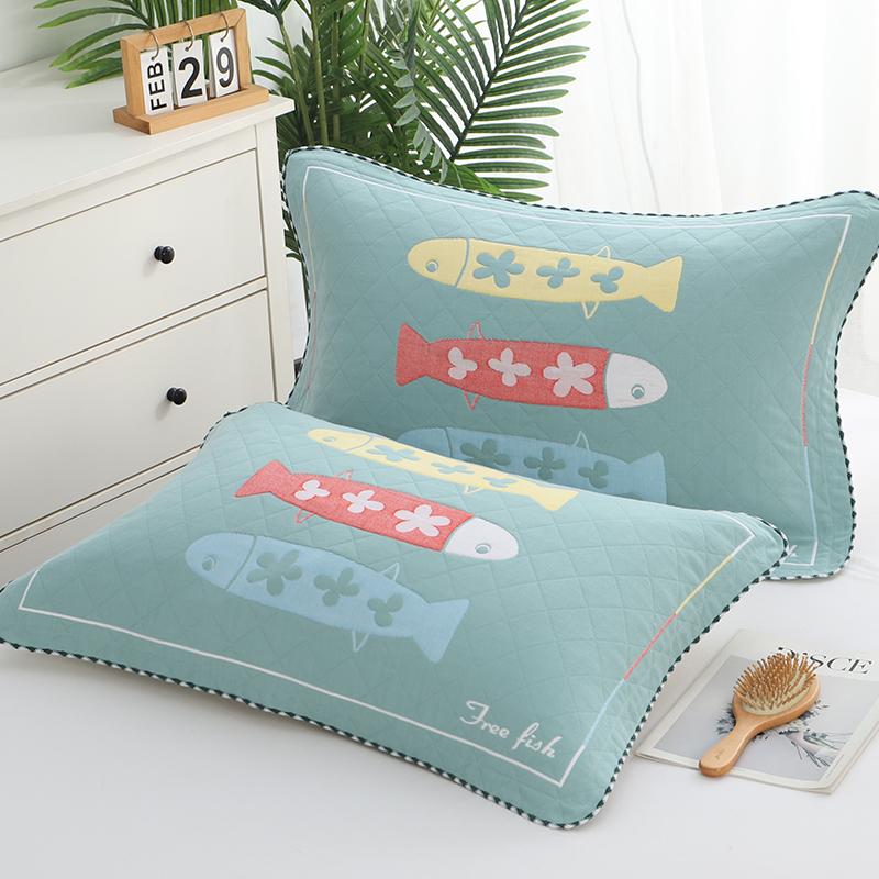 三层纱布纯棉枕套加厚枕巾套一对装全棉枕头套单人欧式情侣枕芯套