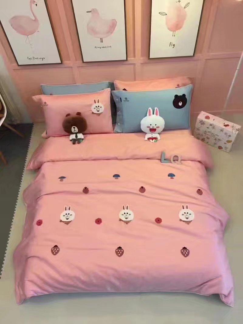 卡通可爱60支贡缎全棉四件套毛巾绣纯棉床单床上用品可妮兔布朗熊