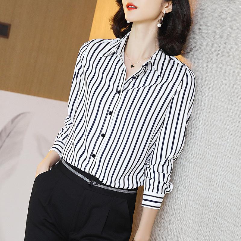 重磅真丝衬衫女春装2021新款桑蚕丝条纹长袖时尚上衣高端大码衬衣