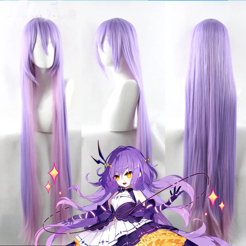 Shattering school 2 Xilin long straight gradually changing color high temperature silk role play wig 100 cm