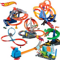 美泰风火轮竞速赛道套装男孩玩具火辣小跑车轨道电动赛车合金车模