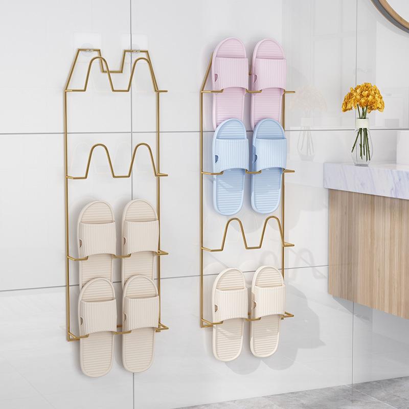 浴室拖鞋架壁挂卫生间置物架墙式免打孔挂钩厕所收纳神器门后鞋架图片