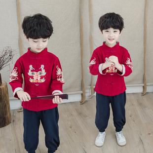 汉服男童唐装 薄款 宝宝改良春秋儿童国学服装 棉麻套装 中国风复古装